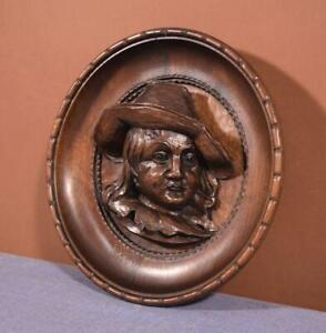 French Antique Hand Carved Breton Chestnut Wall Plaque With Face