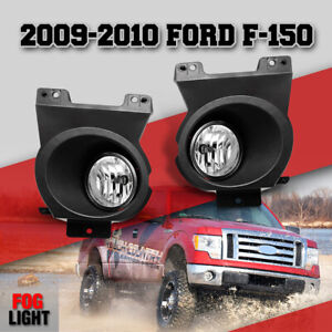 Fits 2009 2010 Ford F 150 Black Housing Clear Lens Driving Lamps Fog Lights Pair