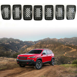 Clip In Front Grille Black Mesh Grill Inserts Cover For 2019 2020 Jeep Cherokee