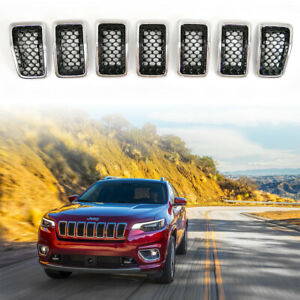 Gloss Black Mesh Chrome Ring Grille Grill Inserts For 2019 2020 Jeep Cherokee