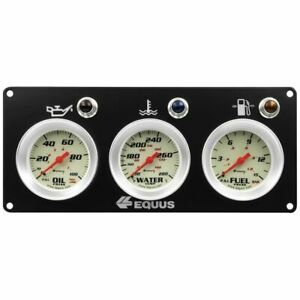 Equus Triple Gauge Race Panel 2 5 8 White Silver Bezel Equus E8401p