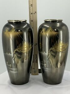 Set Of 2 Meiji Style Chokin Mixed Metal Japanese Vase With Mountains