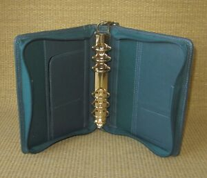 Compact Franklin Covey quest Green Leather 1 25 Gold Rings Zip Planner binder
