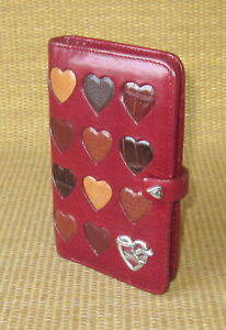 Pocket Brighton Red Leather hearts 5 Rings Open Planner binder Filof