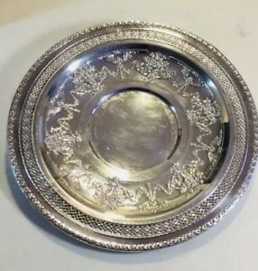 Vtg International Silver Company Round Silver Serving Tray Platter