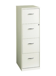 18 In White 4 Drawer Metal File Cabinet Office Furniture Storage Metal Vertical