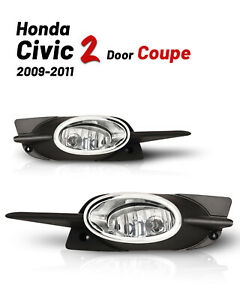 Bumper Fog Lights For 09 11 Honda Civic 2 Door Coupe Part Wiring Kit Switch Bulb