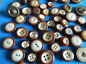 Large Lot Antique 19c White W Brown China Buttons