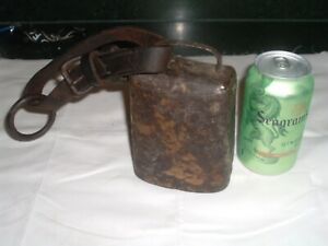 Antique 1800s Pennsylvania Farm House Cow Bell W Strap Iron Ring
