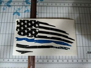 Distressed American Flag Thin Blue Line Vinyl Decal Sticker Ripped Torn Usa