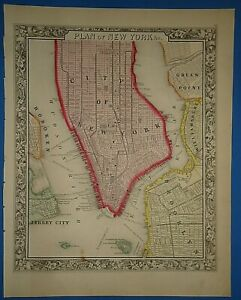 Vintage 1861 New York City Brooklyn Map Old Antique Original Atlas Map