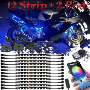 14pcs Bluetooth Motorcycle Smart Color Led Light Kit Accent Glow Strip For Honda