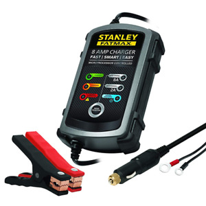 Stanley Fatmax Bc8s Fully Automatic 8a 12v Battery Charger Maintainer With Cable