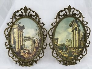 2 Vintage Action Italy Metal Ornate Framed Glass Pictures 12 5