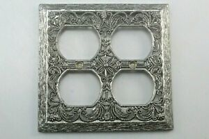 Vintage Silver Metal Filigree Double Outlet Plate