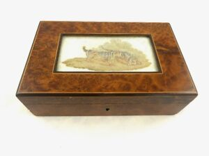 English Burl Wood Box With Lid Needlepoint Scene With Hunting Dogs Sporting Life