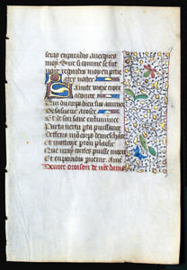 Written In Medieval French Illuminated Book Of Hours Manuscript Leaf C 1450