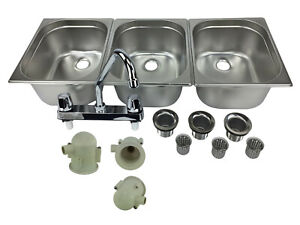 Large 3 Compartment Sink Set For Portable Concession Sinks W Faucet Drain Traps