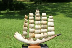 Ox Horn Model Sailing Ship Genuine Horn And Wire Construction