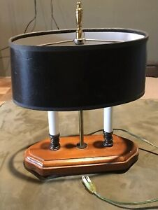 Vintage 2 Candle Lights Brass Bouillotte Desk Table Small Lamp Black Metal Shade