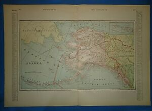 Vintage Circa 1898 Alaska Territory Map Old Antique Original Folio Size