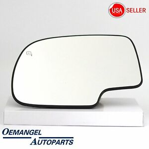 For Chevy Silverado Yukon Avalanche Mirror Glass Power Heated Left Driver Side