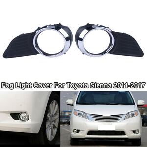 For 2011 2017 Toyota Sienna Xle Le Chrome Front Fog Light Lamps Frame Cover Trim