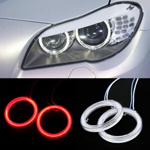 2x Universal Red Cob Led Angel Eyes Headlight Halo Ring Warning Fog Lamps Cover