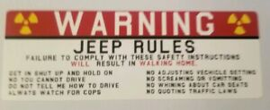 Jeep Rules Warning Sticker Funny Safety Instructions Decals Jk Jl Xj Wrangler