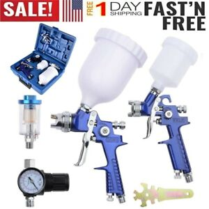 2 Hvlp 1 0mm 1 4mm Air Spray Nozzle Gun Kit Primer Gravity Feed Paint 30 80psi T