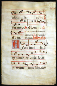 Large Illuminated Manuscript Leaf C 1525 Epiphany Music Gregorian Chant