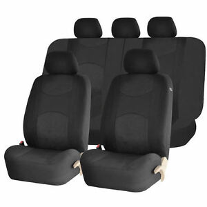Solid Black Poly Mesh Split Bench Seat Covers Combo For Cars 1344