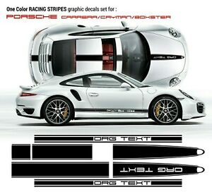 Porsche Carrera Cayman Boxster Vinyl Decal Racing Stripes Kit In One Color