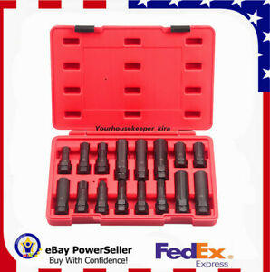 Sale 16pc Locking Lug Nut Master Key Set Wheel Tire Lug Removal Socket Tool Kit