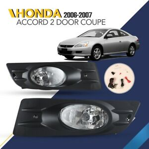 For 2006 2007 Honda Accord 2 Door Coupe Bumper Black Clear Fog Lights Lamps Pair