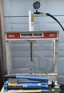 Power Team 10 Ton H Frame Shop Press W Otc Spx 2 Speed Hydraulic Hand Pump 4004