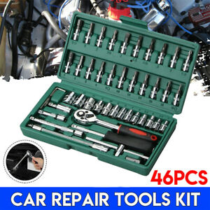 46pcs Socket Spanner Tool Kit Ratchet Wrench Set Metric Sae 1 4 Drive W Case