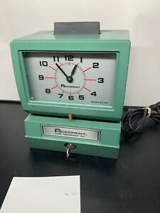 Acroprint 125 Time Recorder Time Clock Wall table Mount Preowned Working Key