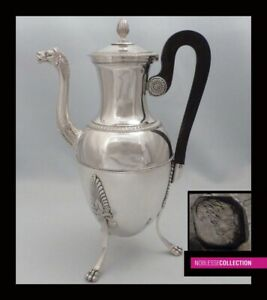 Antique 1820s French Sterling Silver Coffee Pot 11in 772g Empire Paris 1819 1838