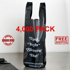 4000 Pack 6 X 4 X 20 98 Mil Black thank You Heavy duty Liquor Bag Cps