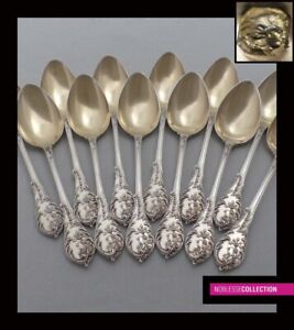 Antique 1880s French Sterling Silver Vermeil Coffee Spoons Set 12 Pc 267g