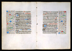 Medieval Illuminated Manuscript Book Of Hours 2 Leaves Bifolium 1450 Gold