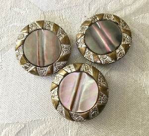 Three Victorian Smokey Mother Of Pearl Buttons With Brass Frames