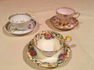 3 Vtg Sets Tea Cups Saucers 2 Tuscan 1 Ansley Fine Bone China England