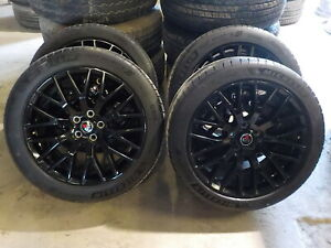 4 2018 Ford Mustang 19 Black Staggered Wheels Michelin Tires Project 6gr 529l