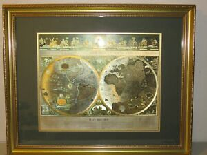 Vintage Framed Gold Foil Blaeu Wall Map Of Old And New World 32 By 26