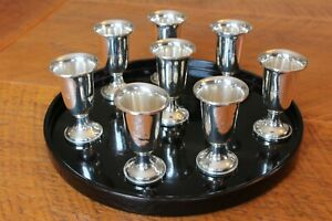 Lot 8 Vintage Weighted Fisher Sterling Silver Cordial Sherry Shot Cups W Tray