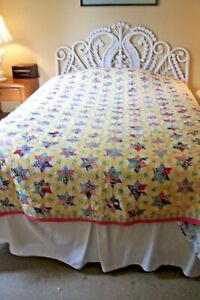 Antique Vintage Tiny Star Hand Stitched Quilt Many Colored Fabrics