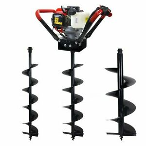 V type 55cc 2 Stroke Gas Post Hole Digger 1 man Auger With 3 Bits 6 8 12