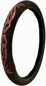 Universal Black Bling Crystal Pink Butterfly Steering Wheel Cover For Auto Car